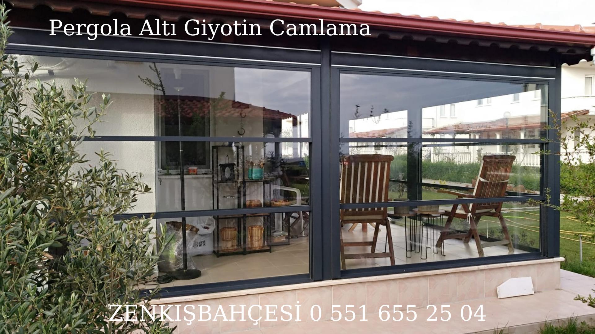 Kış bahçesi pergola altı giyotin cam İzmir